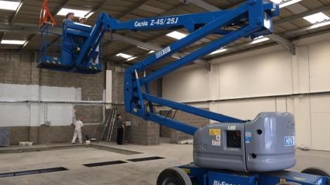 Lighting Install - Paul Dunnings Garage - Installation of New Lighting using Powered Access Equipment.